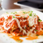 Lasagna on white plate