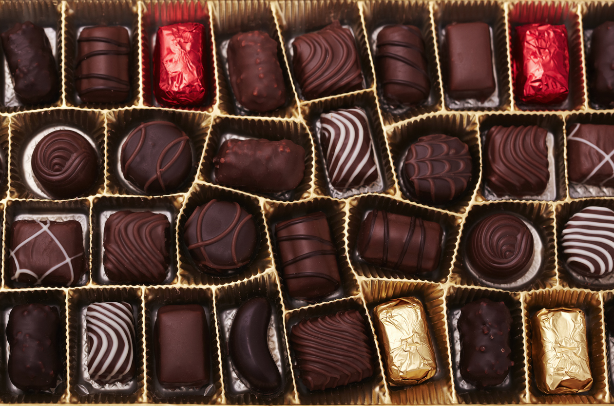 box with a variety of chocolates